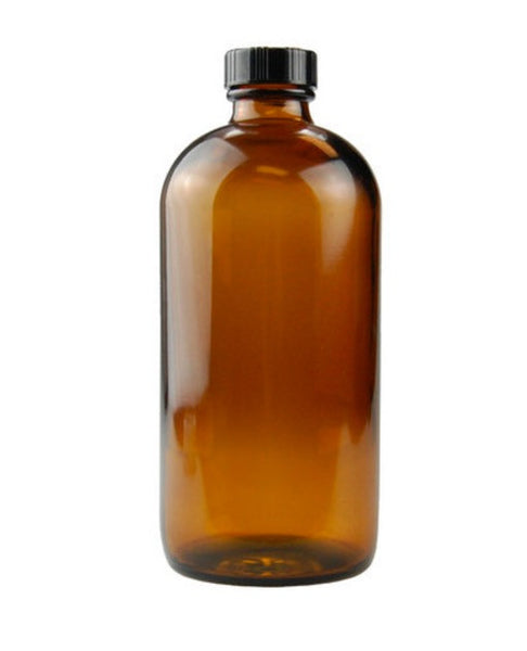16oz Amber Glass Boston Round Bottle w Lid - Dusty Junk.com