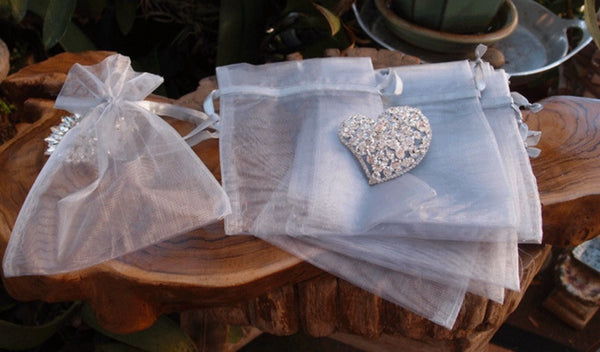 Bulk Silver Organza Bags: 3 Sizes [50ct]
