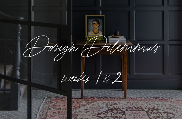 Design Dilemmas cover photo - a dark panelled hallway with antique rug & Frida Kahlo painting