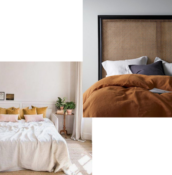 2 bedrooms, one with mustard velvet pillows on a white linen duvet, the second is a mustard linen duvet with a dark rattan headboard