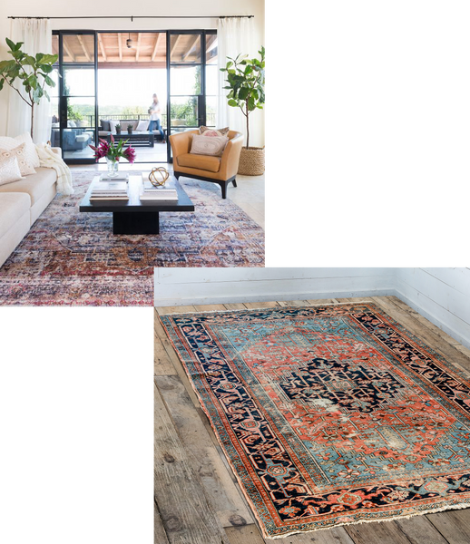 a large antique rug in the centre of a modern living room