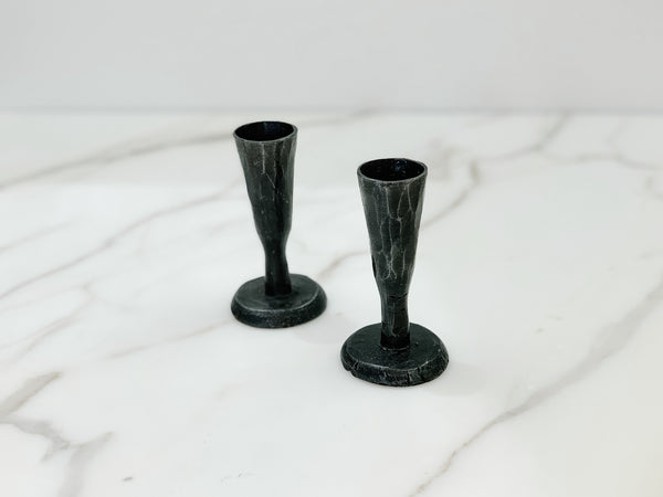 Handmade Pewter Candle Holders - set of 2