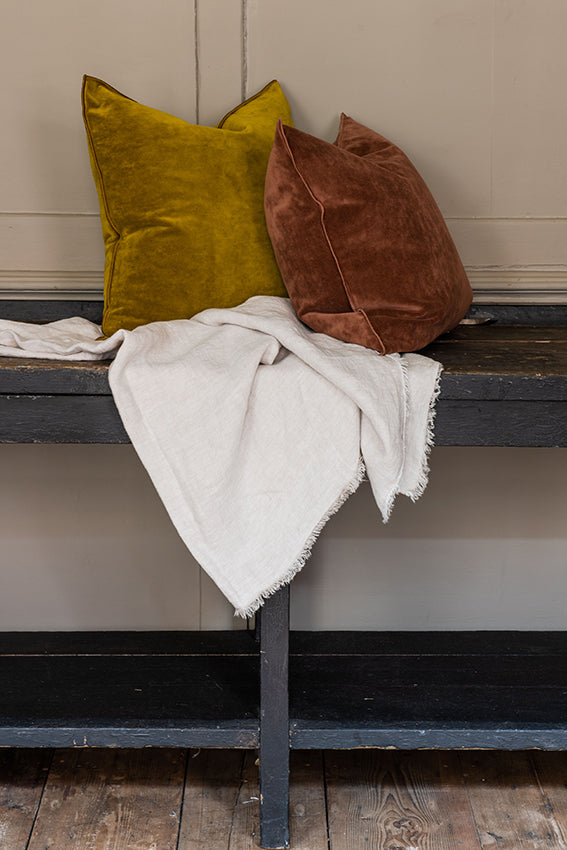 MDV Washed Linen Throw in Cream / Fawn