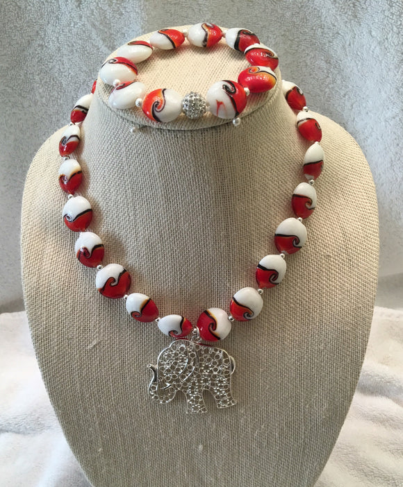 Lampwork Beaded Elephant Necklace