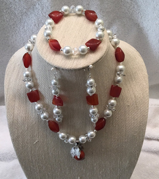 Red Agate and Howlite 3 piece set