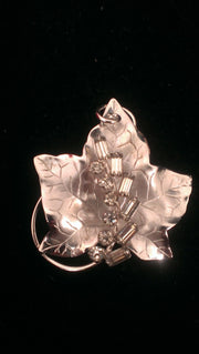 Sterling silver and rhinestone leaf rhinestone brooch pendant
