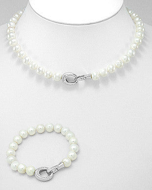 Sterling Pearls and Crystal set