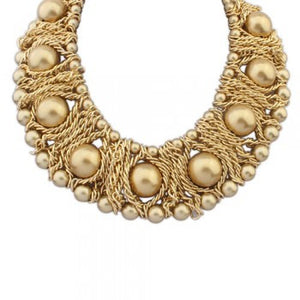 Boast elegant big pearl necklace ( gold )
