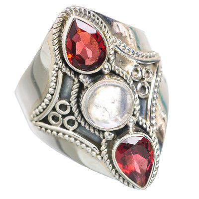 Crimson and Cream Gemstone Ring