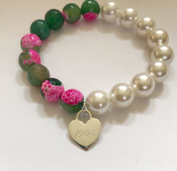 Sterling Gemstone and Shell Pearl Bracelets