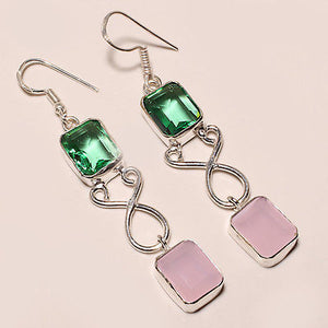 ROSE QUARTZ, GREEN TOURMALINE .925 EARRINGs