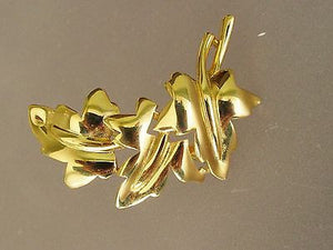 Vintage CROWN TRIFARI GOLD TONE 3 IVY LEAF BROOCH SIGNED