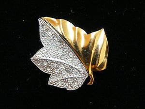 Vintage 40's Ivy Leaf Rhinestone Two Tone Gold Silver Brooch Pin