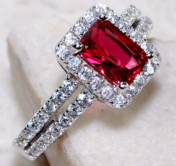 2CT Ruby & White Topaz 925 Solid Genuine Sterling Silver Ring