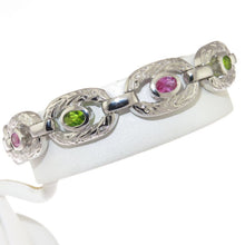 Load image into Gallery viewer, Pink and Green CZ Embossed 925 Sterling Silver Oval Link Bracelet