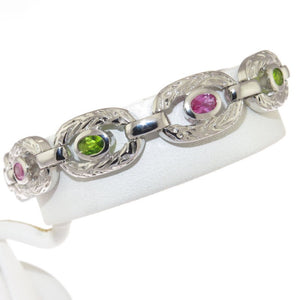 Pink and Green CZ Embossed 925 Sterling Silver Oval Link Bracelet