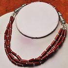 RED CORAL 925 STERLING SILVER OVERLAY VINTAGE NECKLACE EARRING SET