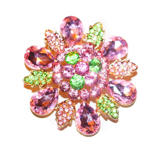Pink and Green Crystal Brooch