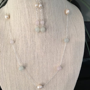 Rose Quartz and Pearls 3 Set