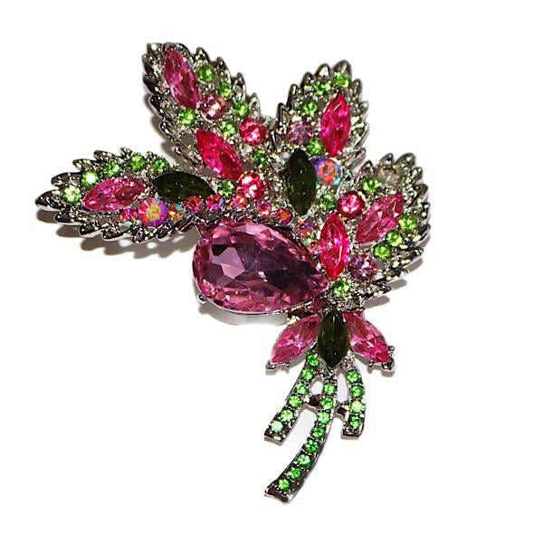Pink and Green Blinging Brooch