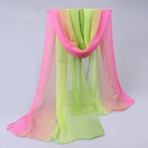 Silk Apple Green and Pink Scarf