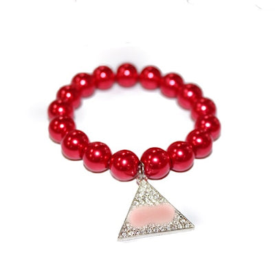 Red Pyramid Pearl Bracelet