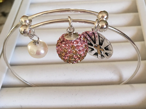 Cuff Bracelet with Pearl and Crystal