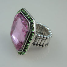 Load image into Gallery viewer, Pink and Green Stretch Ring