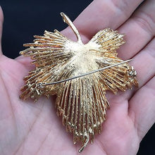 Load image into Gallery viewer, Large Gold Tone Ivy Brooch