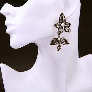 Vintage Gold Gradient Ivy Leaf Double Drop Earrings with Clear Crystals Pearl