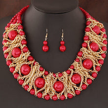 Load image into Gallery viewer, Pearl necklaces in Red and Royal blue too.
