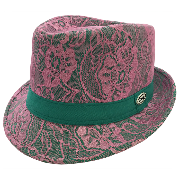 Pink and Green Fedora Hat