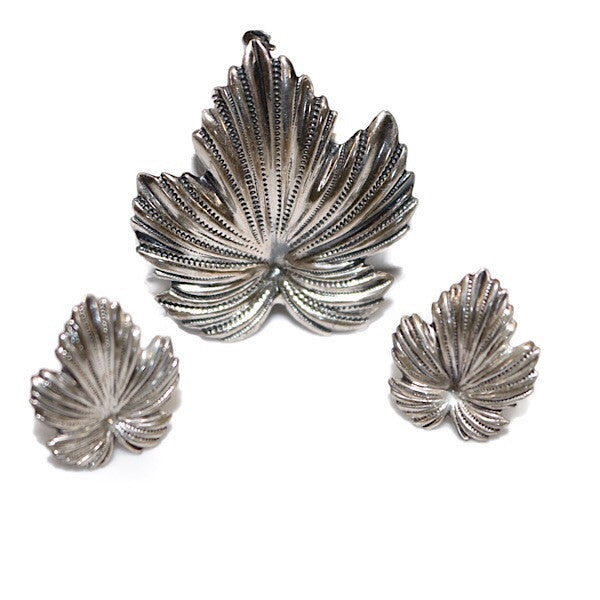 Princess Diamond Cut IVY Leaf Earrings Brooch set
