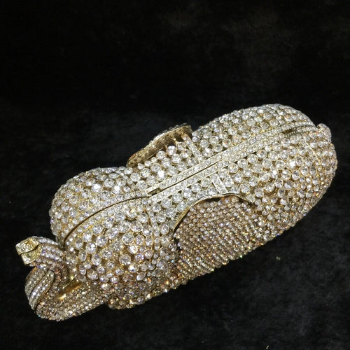 Full Crystals Gold/Silver Elephant Clutch Diamond Evening Bag