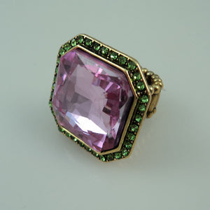 Pink and Green Stretch Ring