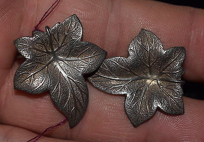 Ivy Pattern Clip On Earrings, Sterling Silver Vintage 1930's-50's