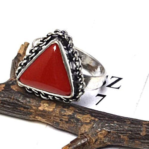 RED CORAL GEMSTONE & 925 STERLING SILVER OVERLAY RING 7 ""