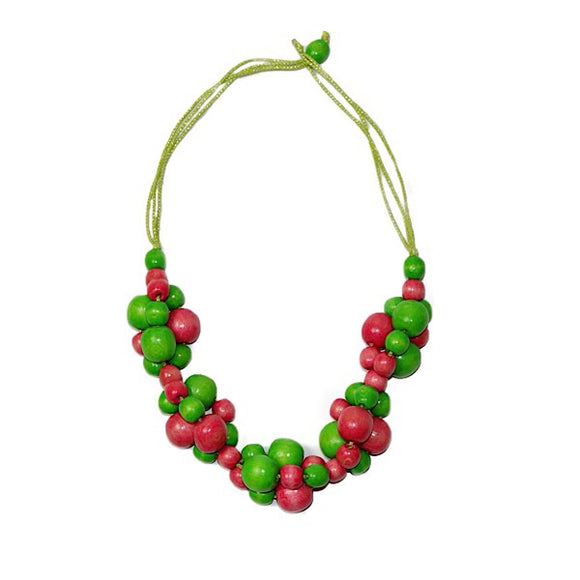 Pink and a Green Wooden Necklace