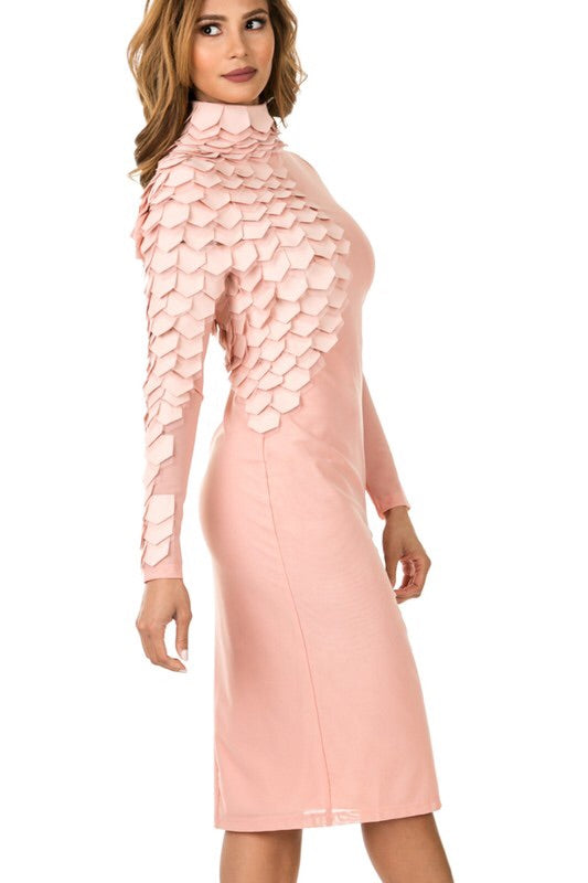 FAUX LEATHER TIERED  MESH MIDI DRESS
