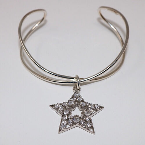 Crystal Sterling Silver Star Bracelet
