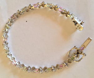 Pink and Green 925 Sterling Silver Bracelet
