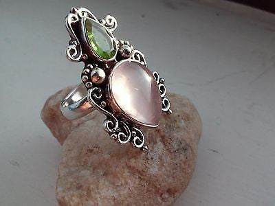 PERIDOT & ROSE QUARTZ Ring