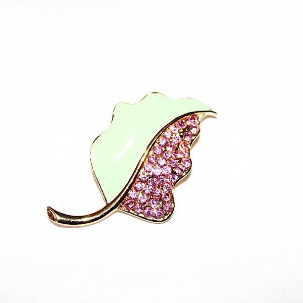 Green and Pink Leaf Pin