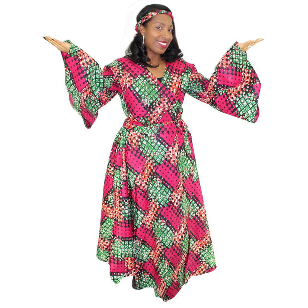 African Pink and Green wrap dress