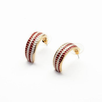 Drill Set  Earring ( Red and white )