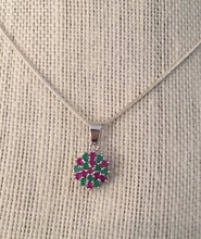 Load image into Gallery viewer, Rubies Emeralds and Sterling Pendant