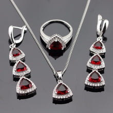 Load image into Gallery viewer, Red Garnet and White Topaz necklace set