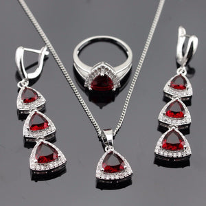 Red Garnet and White Topaz necklace set