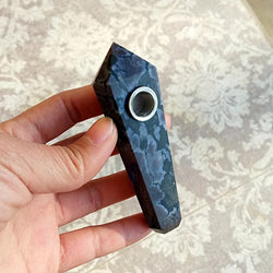 SPOTTED STONE NATURAL HEALING CRYSTAL PIPE