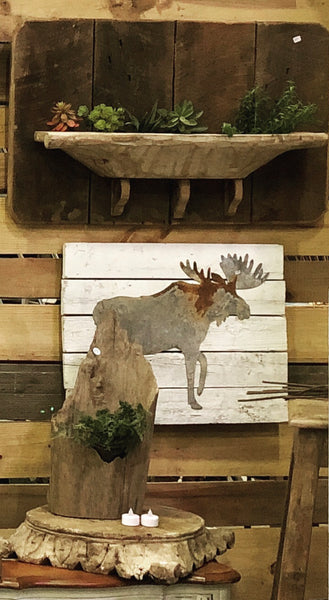 Old Tin Moose on shiplap